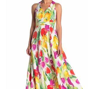 Maggy London Floral V neck A- line Maxi Dress